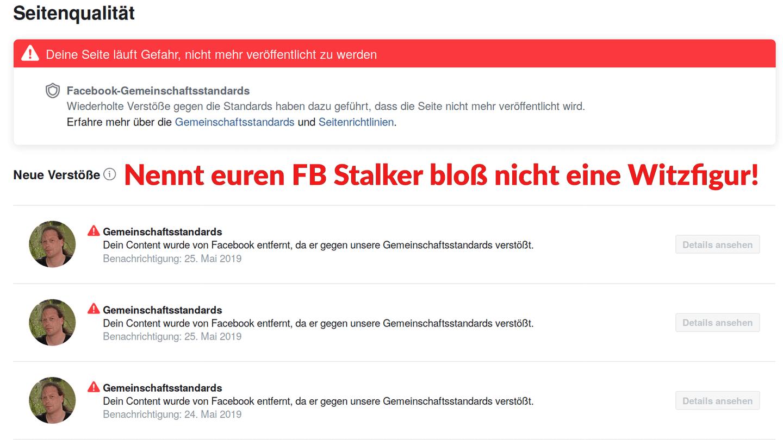 Stalking Zensur – 1984er Facebook Sperre