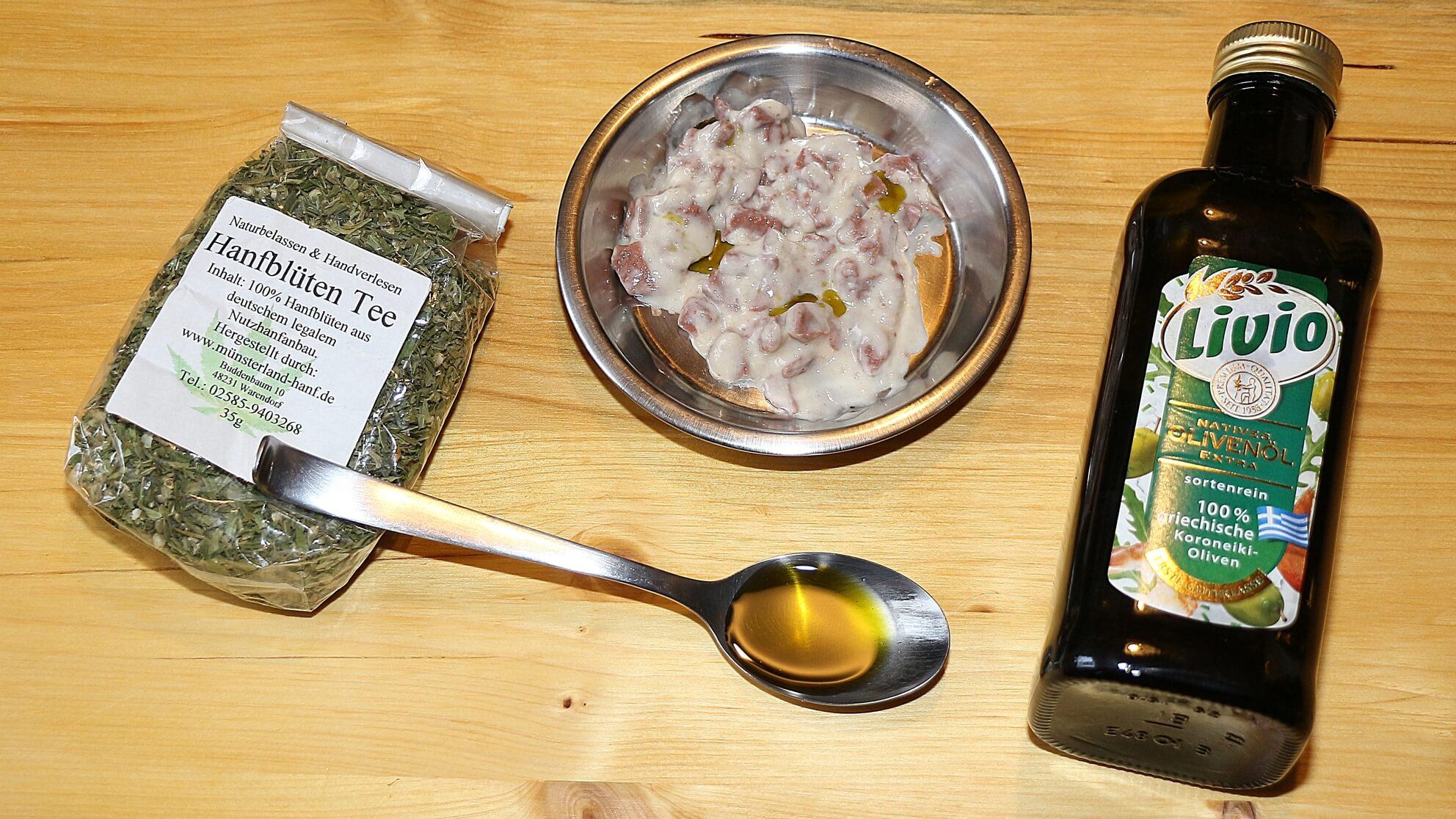 Eigenes CBD-Olivenöl aus Cannabis für Tiere im Futter – wegen der Terpene die Rezeptur anpassen!