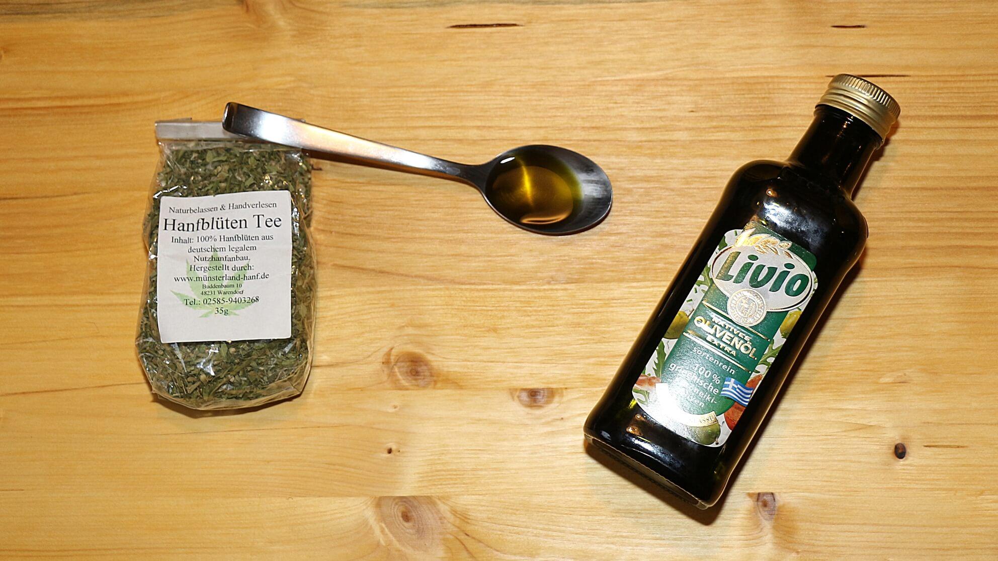 Hanfblütentee und Olivenöl reichen, um in der Küche eigenes CBD zu extrahieren – sehr günstig!